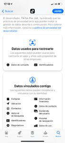 Actualización de la información en la App Store.
